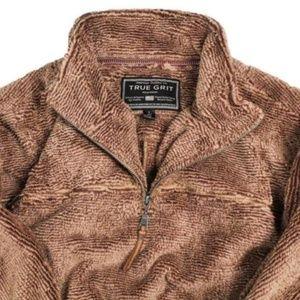 True Grit Luxe Fleece 1/4 Zip Pullover Top Mocha